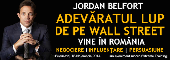 Reducere 100E la evenimentul lui Jordan Belfort, adevaratul lup de pe Wall Street